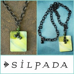 Silpada Oxidized Silver Lime Green Mop Necklace